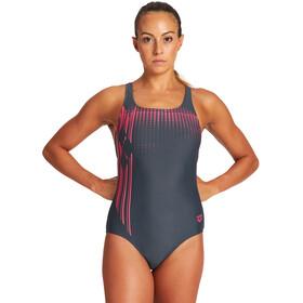arena Crosscut Pro Back Swimsuit Women asphalt/freak rose